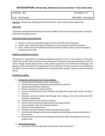 Event Coordinator Job Description Pine Castle