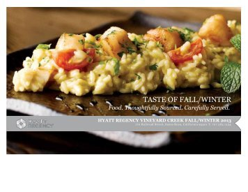 Fall/Winter Menu - Hyatt Vineyard Creek Hotel and Spa