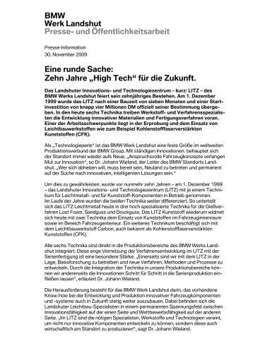 BMW Presse- und Öffentlichkeitsarbeit - BMW Werk Landshut