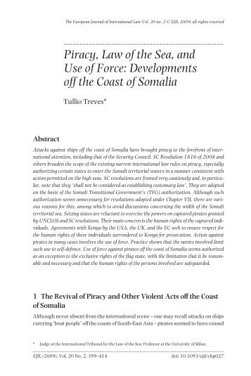 Piracy, Law of the Sea, and Use of Force - European Journal of ...