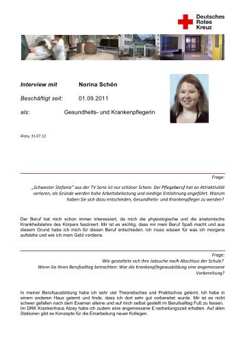 Interview vom 31.07.2012: Norina Schön - DRK Krankenhaus Alzey