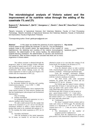 The microbiological analysis of Victoria salami and the improvement ...