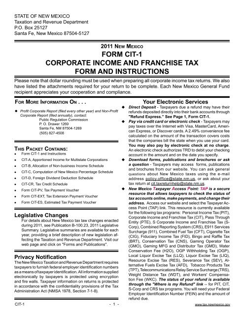 FoRM CiT 1 CoRPoRATe INcoMe AND FRANcHiSe TAx FoRM AND