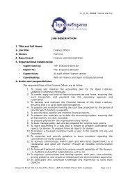 Job description of the Finance Officer