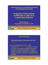 Programme d'Interventions de PPD dans le cadre de la ...