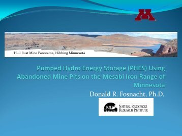 Pumped Hydro Energy Storage - Natural Resources Research Institute