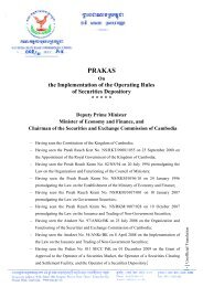 Prakas #002.11 on Implementation of Operating Rules of Securities ...