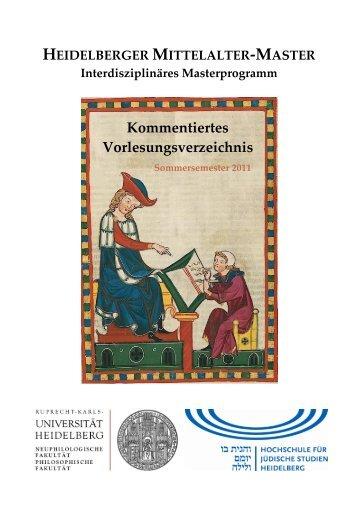 Sommersemester 2011 - Heidelberg Mittelalter Master - Uni.hd.de