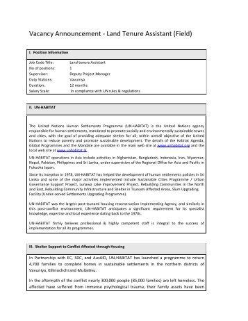 Land Tenure Assistant (Field) - UN HABITAT
