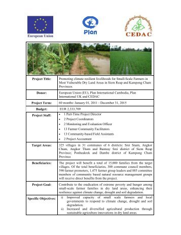 Promoting climate resilient livelihoods for Small-Scale ... - cedac