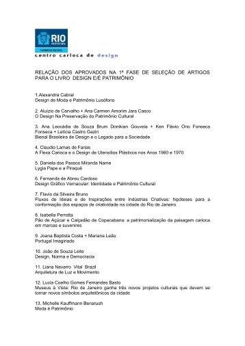 RELAÇÃO DOS APROVADOS NA 1ª FASE DE ... - rio.rj.gov.br