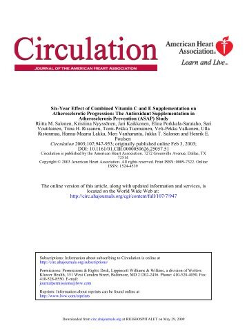 Six-Year Effect of Combined Vitamin C and E ... - CPNC