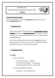 Hinweise zum Qualifizierenden Hauptschulabschluss 2010 in Musik