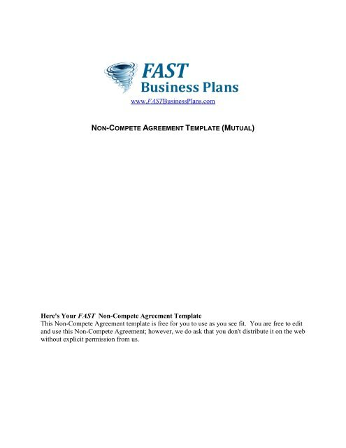 Non Compete Agreement Template Fast Business Plans