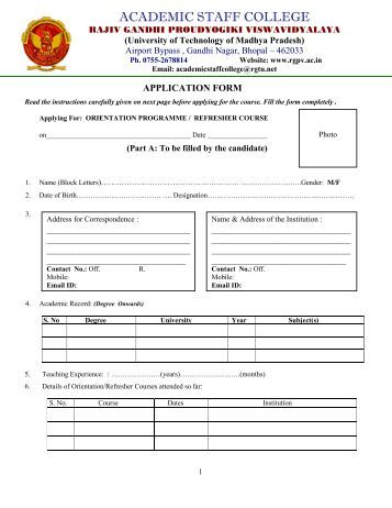 Rgpv degree form download
