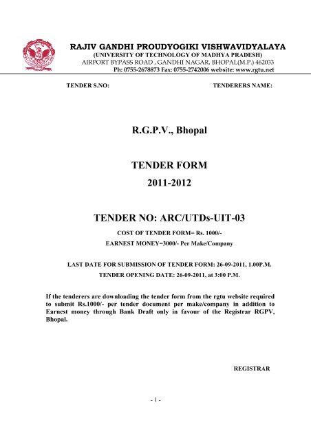 TENDER NO ARCUTDs-UIT-03 - Rgpv