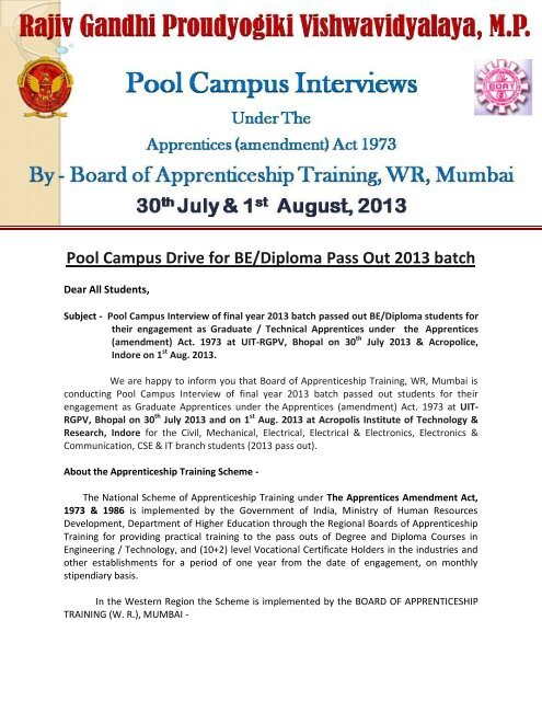 Pool Campus Drive for BE/Diploma Pass Out 2013 batch