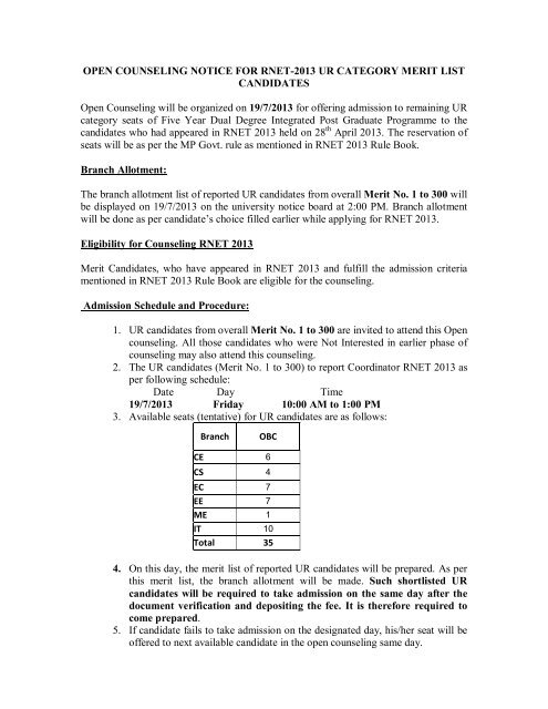 OPEN COUNSELING NOTICE FOR RNET-2013 UR     - Rgpv