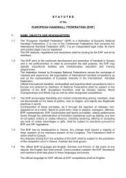 S T A T U T E S  EUROPEAN HANDBALL FEDERATION (EHF)