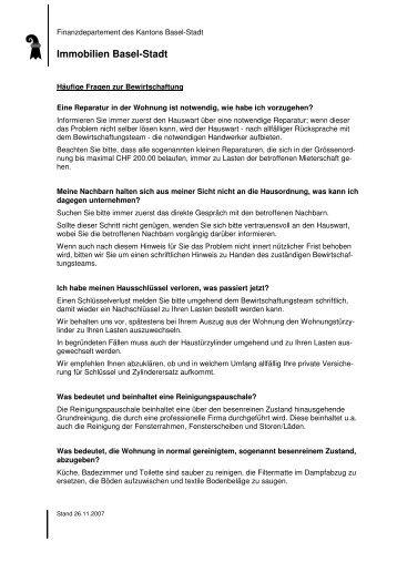 Häufige Fragen zur Bewirtschaftung - Immobilien Basel-Stadt