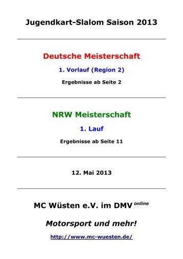 Ergebnisse - MC Wüsten eV im DMV online - Motorsport und mehr!