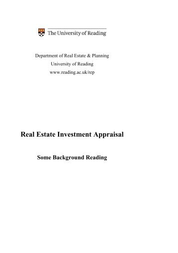 Real Estate Investment Appraisal - Henley Business School