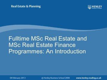 Real Estate & Planning - Henley Business School