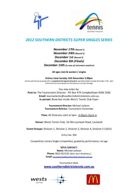 2012 SOUTHERN DISTRICTS SUPER SINGLES SERIES