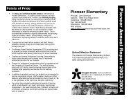 Pioneer Annual Report 2003-2004 - Douglas County School District