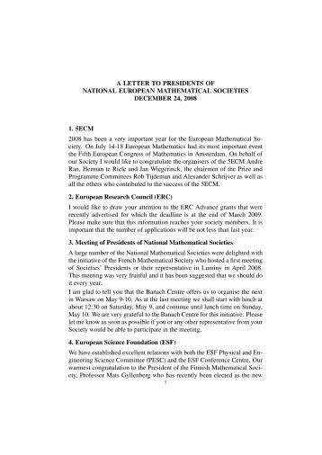 A LETTER TO PRESIDENTS OF NATIONAL EUROPEAN ... - SMAI