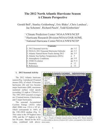 The 2012 North Atlantic Hurricane Season A Climate Perspective