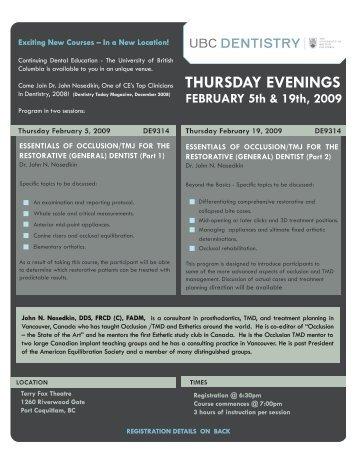 thursday evenings - UBC Dentistry - University of British Columbia