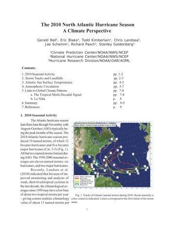 The 2010 North Atlantic Hurricane Season A Climate Perspective