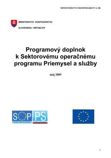 Programový doplnok SOP PS - Slovenská inovačná a energetická ...
