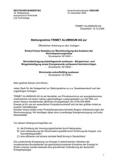 Trimet Aluminium AG - Netzausbau in Niedersachsen