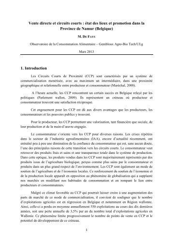 Etude 2013 - Vente directe et circuits courts - Gembloux Agro-Bio Tech