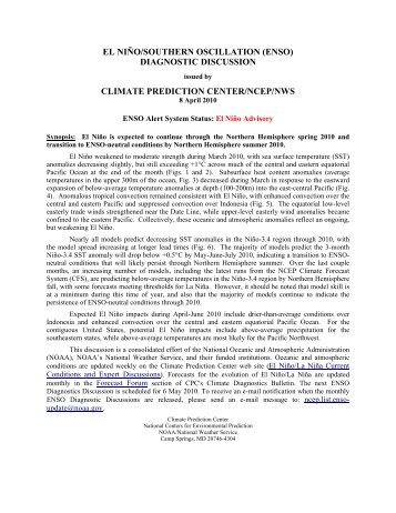 ENSO Diagnostic Discussions - Climate Prediction Center - NOAA