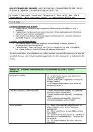 Questionario sui servizi - Nucleo di Valutazione