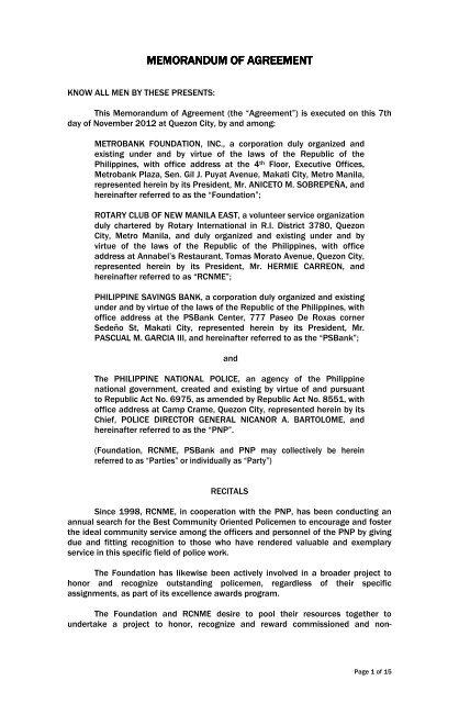Memorandum Of Agreement Philippine National Police