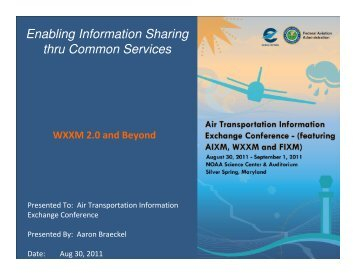 Enabling Information Sharing thru Common Services - AiXM