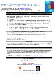 District 9650 Weekly Mailing update 11 - Rotary District 9650