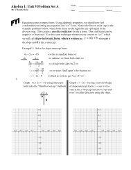 = Algebra 1: Unit 5 Problem Set A - MathChamber