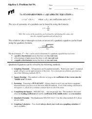 Unit 9 Problem Set A - MathChamber