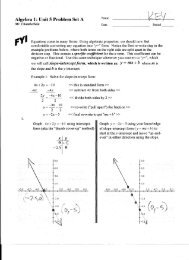 Algebra 1:Unit 5 Problem Set A - MathChamber