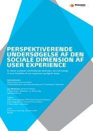 Perspektiverende eksamensoplæg - Speciale - User experience til ...