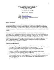 CC 861 Personality Assessment - Ashland University