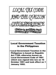 Local Tax Code and the Quezon City Experience (1)