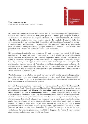 Una mostra-ricerca - La Biennale di Venezia