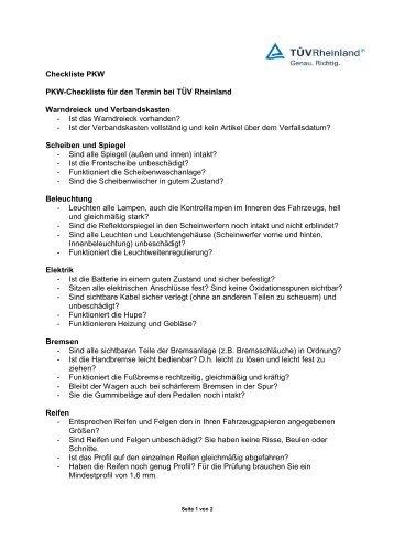 Checkliste PKW PKW-Checkliste für den Termin bei TÜV ... - Tuv