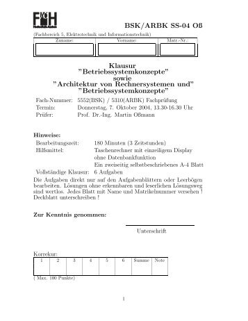 Betriebssystemkonzept - Prof. Dr.-Ing. Martin Oßmann